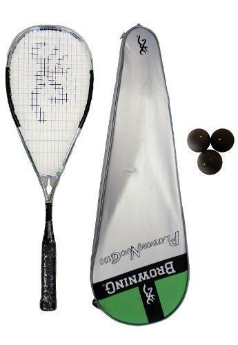 Browning Platinum Nano 100 (Chrome) Squash Racket + Pack of Dunlop Squash Balls