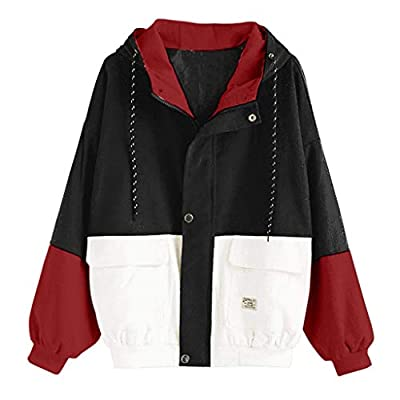 Corduroy Color Block Vintage Jackets for Women Warm Three-Color Hoodie Corduroy Jacket Cute Zip Button Up Jacket: Clothing