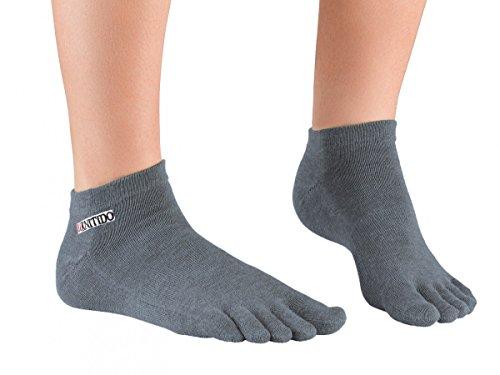 Knitido Track & Trail Ultralite Fresh Seasons   kurze Zehensocken für Sport und Freizeit, geeignet für Zehenschuhe, einfarbig in 7 Farben, für Damen und Herren (unisex), aus Baumwolle (39%) und kühlender Coolmax®-Faser, Größe:43-46;Farbe:Anthrazit