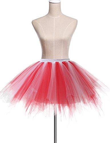 Tutu Donna Sottogonna 50 Dresstells Red Balletti Gonna Swing white Tulle Principessa Danza Di Annata Cocktail OPXiTwkZu