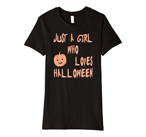 Womens A Girl Who Loves Halloween T-shirt for Women Pumpkin Tee Medium Black (Halloween Castume)