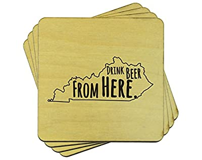 Drink Beer From Here: Kentucky Coasters, Set of 4 Wooden Drink Coasters