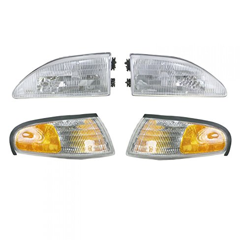 Headlights & Parking Corner Lights Left & Right Pair Set for 94-98 Ford Mustang ()