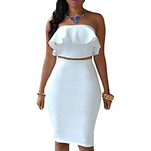 90023fe9c Galleon - Eiffel Women's Off Shoulder Ruffle Crop Top Pencil Skirt Dress  Two-piece Set (Large, White-1)