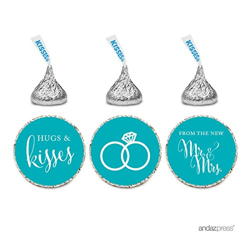Andaz Press Chocolate Drop Labels Stickers, Wedding Hugs & Kisses from the New Mr. & Mrs., Aqua, 216-Pack, For Bridal Shower Engagement Hershey's Kisses Party Favors Decor