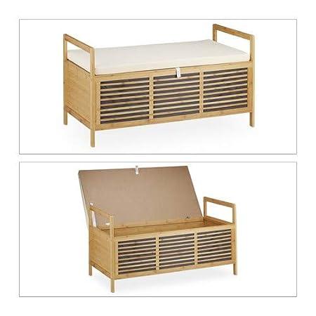 46 x 93 x 50 cm si/ège avec coussin repose-pieds nature Relaxdays Banc de rangement en bambou tabouret de salle de bain avec assise HxlxP