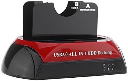 "2.5/""3.5/"" Dual Slots USB 3.0 SATA IDE HDD ALL IN 1 Docking Station Card Reader GA"