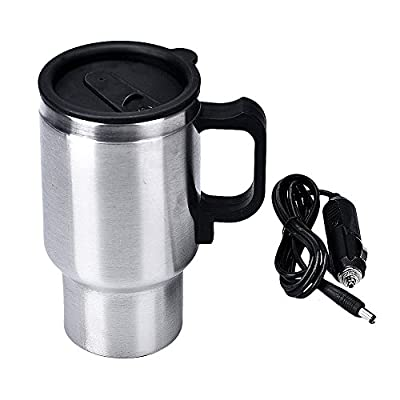 DC 12V Silver Stainless Steel Car Heating Cup Electric Mug Thermos Type Heating Hot Drink Electric Kettles Auto Supplies