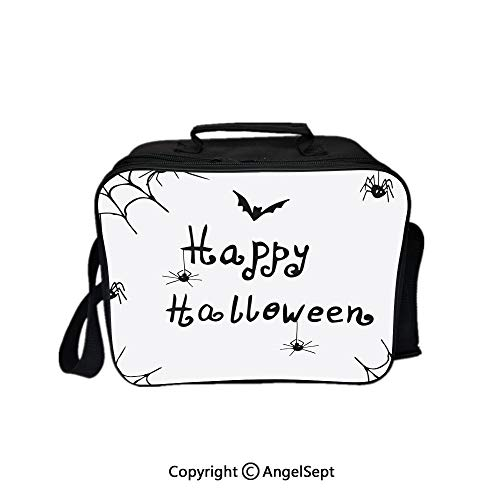 Fashion Custom Lunch Bag Tote Bag,Happy Halloween Celebration Monochrome Hand Drawn Style Creepy Doodle Artwork Black White 8.3inch,Lunch Organizer Lunch Holder For Unisex Adults]()