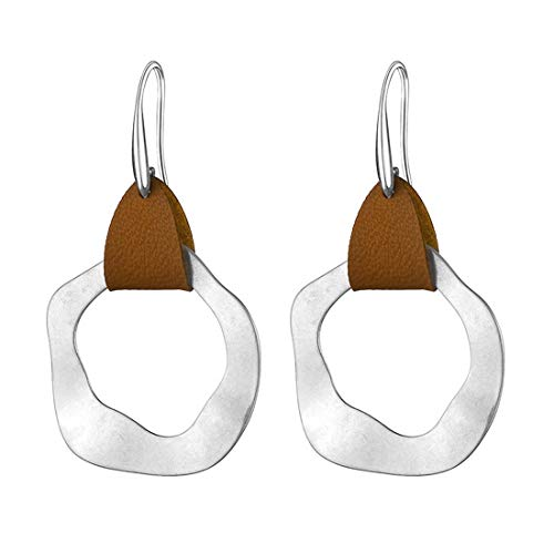 CrownUS Leather Hammered Earring Packs Boho for Women Ladies Silver Plated Irregular Geometric Dangle Drop Ear Jewelry