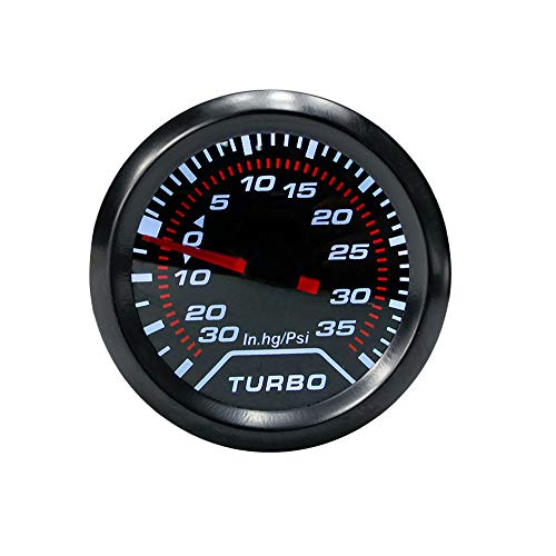Turbo Boost Gauge, 52mm Red Illuminated Needle Blue LED Display Car Smoke Dial Face Turbocharged Gauge, Digital Pressure…