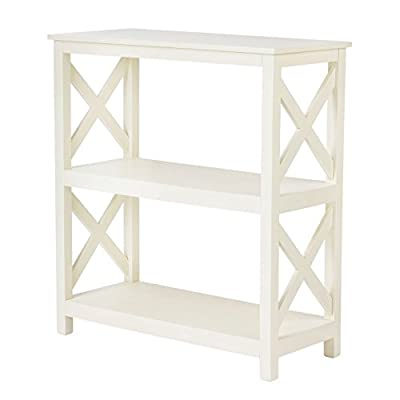 """Pearington PEAR SD3TIERWHT PEAR-SD3TIERWHT Side End Table, 26.4"""" L x 11.8"""" W x 29"""" H, Antique White - Durable bookshelf Construction 3 tier x design side table made from Acacia wood Easy Set up wood book shelf ships fully assembled, no tools or time required for Set up Traditional wood shelf design great to display books, Photo frames, or other memorabilia - living-room-furniture, living-room, end-tables - 411LHYaV4FL. SS400  -"""