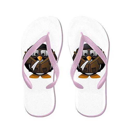 Truly Teague Mens Little Round Penguin - Airplane Jet Pilot Rubber Flip Flops Sandals Pink DhB65vk