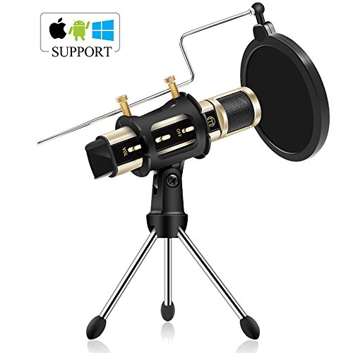 Condenser Microphone, ZealSound Recording & Broadcasting Microphone With Stand Built-in Sound Card Echo Recording Karaoke Singing for iPhone Phone Windows Garageband Smule Live Stream & Youtube (Gold)