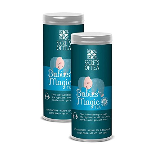 Secrets of Tea Baby Colic Babies' Magic Tea - Organic, Natural, Safe - Calming & Soothing Relief for Baby Acid Reflux, Gas, Colic - Your Baby Will Sleep Thru The -