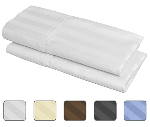 100% Egyptian Cotton, 540 Thread Count 2 Pack Striped Standard Size Pillowcases - 4 Colors With Wrinkle Guard To Choose From - fits 20x26 (Color: White)