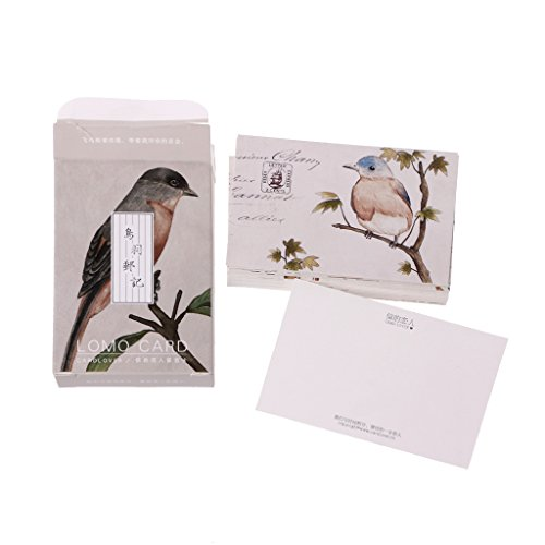 linlin 28Pieces Vintage Stamp Beautiful Bird Mini Card Greeting Memo Card Kid Gift Postcard