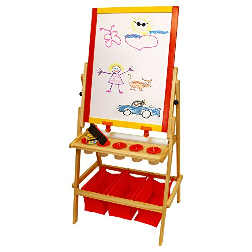 US Art Supply Flip-Over Children's Paint and Drawing Artist Easel with Child's Chalkboard, Dry Erase Board, 3 Large Storage Bins, Paper Roll, Chalk, Chalkboard Eraser and 5 No-Drip Paint Cups by US Art Supply