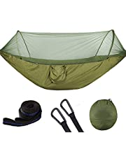 Tmtop Double / Single Portable Camping Travel Hammock Hanging Bed with Mosquito Net (Dark Green)