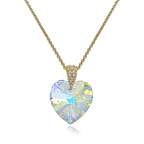 Yellow Gold Flashed Sterling Silver Aurora Borealis Heart Necklace Created with Swarovski Crystals