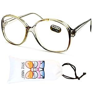 E3035-vp Style Vault Oversized Reading Eyeglasses (B1867F +1.25 Crystal Light-Brown)