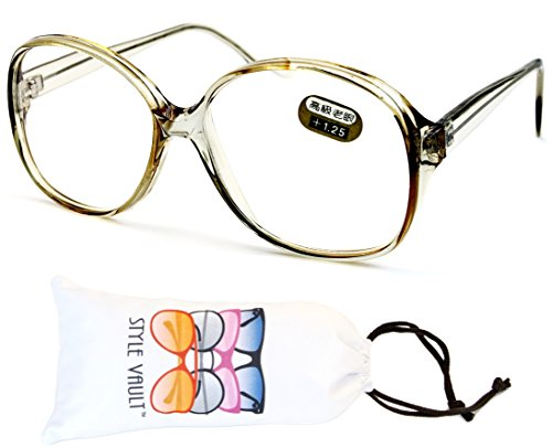 E3035-vp Style Vault Oversized Reading Eyeglasses (B1867F +1.25 Crystal - 80s Glasses Style