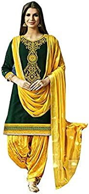 Dream Angel Fashion Women's Cotton Embroidery Work Patiala Salwar Suit with Dup