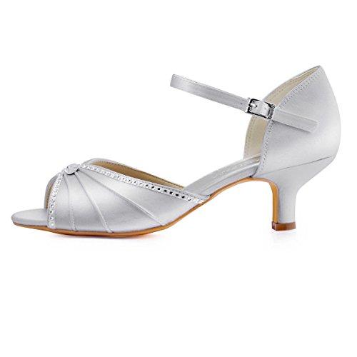 ElegantPark HP1623 Peep toes abrochan los zapatos de novia de satén tacón bajo las sandalias Plateado