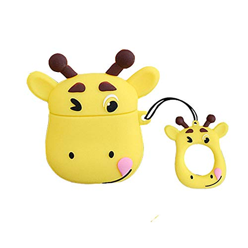 UR Sunshine AirPods Case, Super Cute Funny Cartoon Animal Shape Soft Silicone Case Cover Protective Skin for AirPods1/AirPods 2+Ring Lanyard-Cow