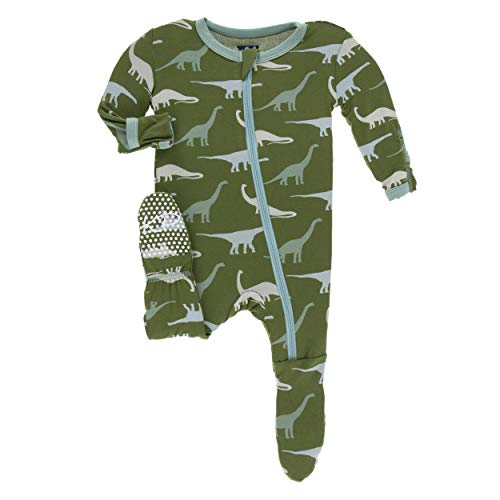 Kickee Pants Little Boys Print Footie with Zipper - Moss Sauropods, 6 Years