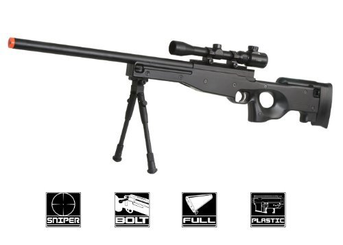 BBTac Airsoft Sniper Rifle Bolt Action Gun Full Metal Spring Loaded with Scope and Bipod High - Rifle Sniper Metal