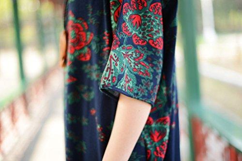 Bellefilles Chinoiserie Tenue Décontractée, Robe À Fleurs De Taille Plus, Robe Bleu Ample