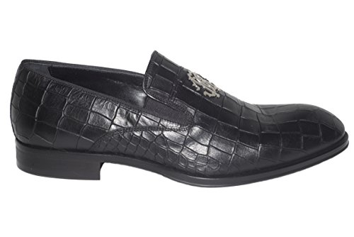 Roberto Cavalli Black Leather - Roberto Cavalli 6245 Italian Mens Black Print Leather Loafers with Logo RC