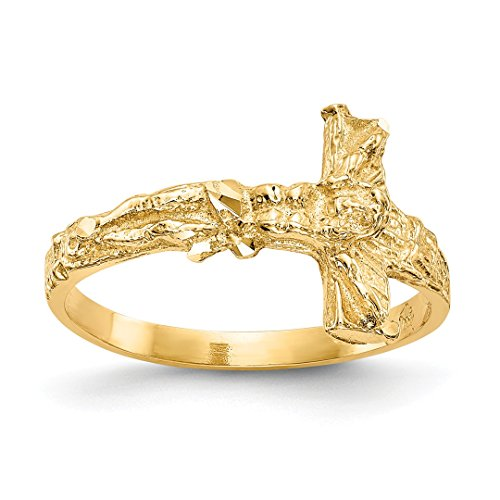 ICE CARATS 14kt Yellow Gold Crucifix Cross Religious Band Ring Size 7.00 Fine Jewelry Ideal Gifts For Women Gift Set From Heart 14kt Gold Crucifix Ring