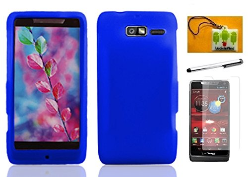 LF 4in 1 Bundle - Silicon Skin Flexible Gel Case Cover, Stylus Pen, Screen Protector & Wiper For (Verizon) Motorola Droid Razr M XT907 / Razr i Xt890 (Skin Blue)