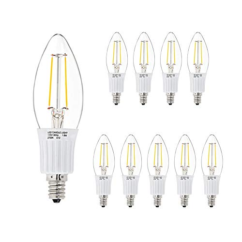 - LED Candelabra Chandelier Clear Candle Light Bulb - 3W (30W Equivalent Replacement), 2800 Kelvin Warm White, B10, E12 Screw in Base, 300 Lumen, 10 Pack