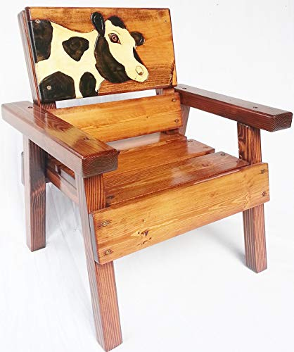 Childrens' Outdoor Wood Chair, Heirloom Gift, Patio Furniture, Engraved and Painted Holstein Cow Design