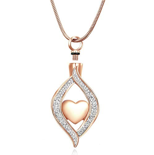Mikash Rose Gold Angel Eye Cystal Ashes Necklace Cremation Urn Jewelry for Human Ashes - Heart Pendant Keepsakes- 20' Snake Chain+2' Adjustable Extension Chain+ Free Filling Kit | Model MMRLD - 245 |