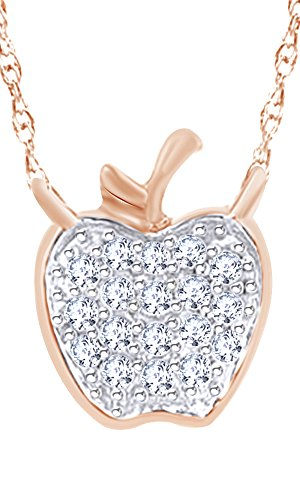 Wishrocks 14K Gold Over Sterling Silver Round Cut Diamond Accent Apple Pendant Necklace