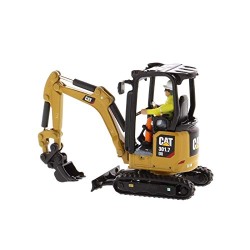 Diecast Masters CAT Caterpillar 301.7 CR Next Generation Mini Hydraulic Excavator with Work Tools and Operator High Line Series 1/50 Model 85597 (Diecast Excavator Model)