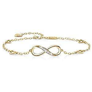 925 Argent fin Bracelet infini – Billie Bijoux damour sans fin Symbole bracelet de cheville réglable avec charme pour…
