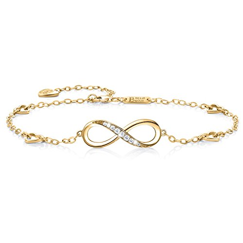 10k 14k Charm Bracelet - Billie Bijoux Womens 925 Sterling Silver Infinity Endless Love Symbol Charm Adjustable Anklet Bracelet, Large Bracelet, Gift for Mother's Day (C- Gold)