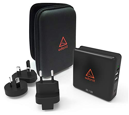 - Adonit TravelCube Universal Travel Wall Adapter Qi-Compatible Wireless Charger International Power Bank, Black