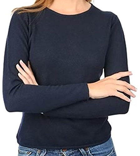 Balldiri 100% Cashmere Kaschmir Damen Pullover Rundhals 2-fädig nachtblau S