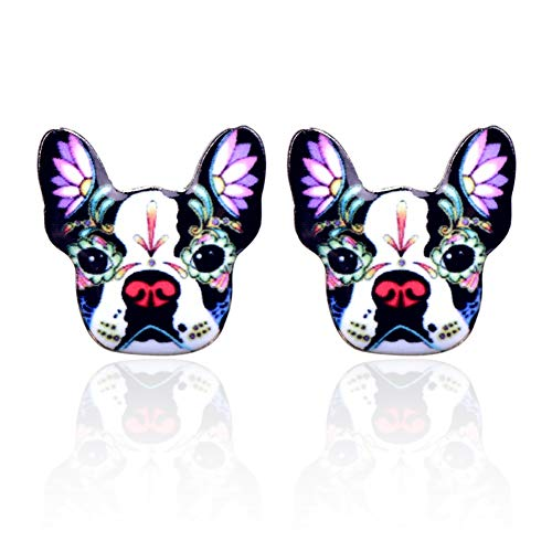 British Bulldog Earrings:Colorful Enamel Print Dog Stud Earrings For Women and Girls wear collection (White)