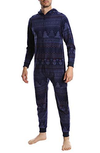 Top Shelf Men's Fleece Onesie - Adult One Piece Zip Up Pajamas & Loungewear - Available in Fun Holiday Styles - Snowman Fair Isle, Medium