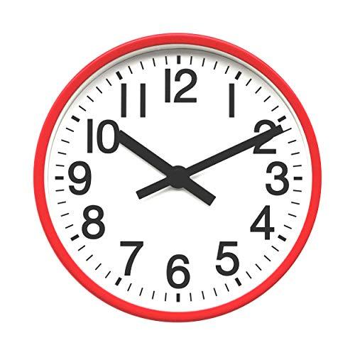 COMODO CASA Wall & Desk Clock- Metal Red Frame-Glass Cover-Non Ticking-Quartz Sweep-Silent 6 inch Retro Clock,White