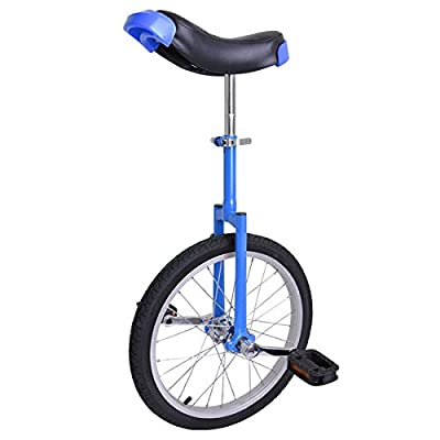 Stylish Blue 18 In. Mountain Wheel Unicycle w/ Comfortable Saddle Seat Release Clamp Heavy Duty Steel Frame for Bike Cycling Adult Balance Exercise Training