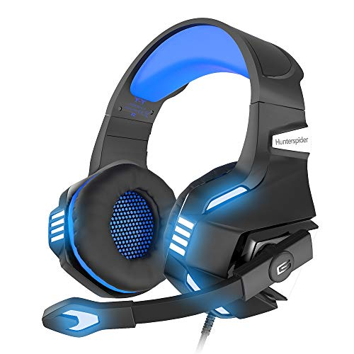 VersionTECH. Stereo Gaming Headset for Xbox One, PS4, PC, Noise Isolating Over Ear Headphones with Mic,LED Light, 50mm Driver, Volume Control for Nintendo Switch(Audio),Laptop, iMac,Computer Game-Blue