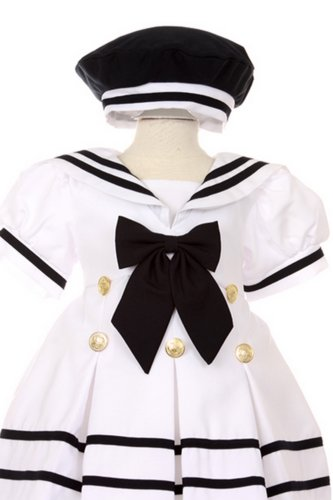 StylesILove Salior Stripe Short Sleeve Girl Dress and Hat 2-pc Set (18-24 (Salior Hat)